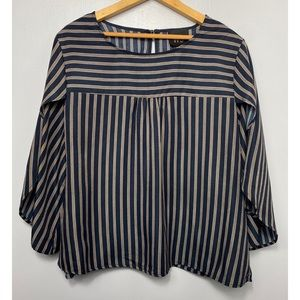 W5 Navy Blue Striped Boxy Fit Top